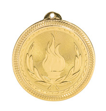 "2"" Gold Victory Laserable BriteLazer Medal"