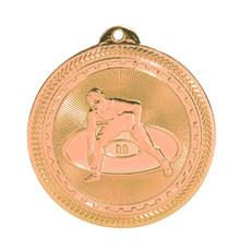 "2"" Bronze Wrestling Laserable BriteLazer Medal"