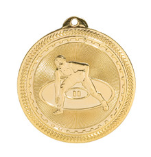 "2"" Gold Wrestling Laserable BriteLazer Medal"