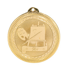 "2"" Gold Art Laserable BriteLazer Medal"