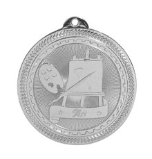 "2"" Silver Art Laserable BriteLazer Medal"