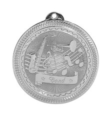 "2"" Silver Band Laserable BriteLazer Medal"
