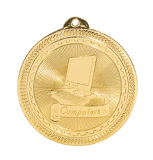 "2"" Gold Computers Laserable BriteLazer Medal"