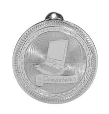 "2"" Silver Computers Laserable BriteLazer Medal"