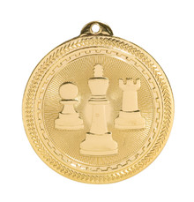 "2"" Gold Chess Laserable BriteLazer Medal"