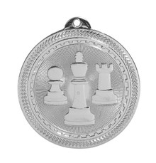 "2"" Silver Chess Laserable BriteLazer Medal"
