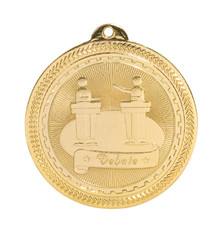 "2"" Gold Debate Laserable BriteLazer Medal"