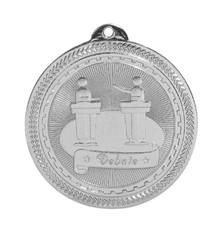 """2"""" Silver Debate Laserable BriteLazer Medal"""