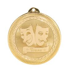 "2"" Gold Drama Laserable BriteLazer Medal"