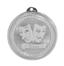 "2"" Silver Drama Laserable BriteLazer Medal"