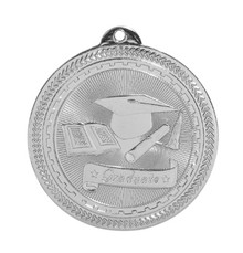 "2"" Silver Graduate Laserable BriteLazer Medal"
