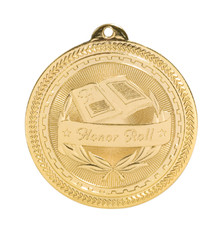 "2"" Gold Honor Roll Laserable BriteLazer Medal"