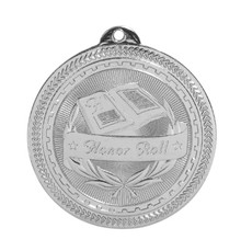 "2"" Silver Honor Roll Laserable BriteLazer Medal"