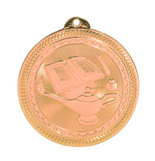 "2"" Bronze Lamp of Knowledge Laserable BriteLazer Medal"