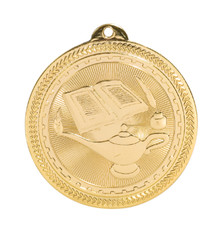 "2"" Gold Lamp of Knowledge Laserable BriteLazer Medal"