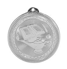"2"" Silver Lamp of Knowledge Laserable BriteLazer Medal"