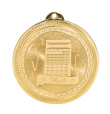 "2"" Gold Math Laserable BriteLazer Medal"
