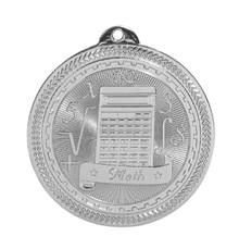 "2"" Silver Math Laserable BriteLazer Medal"
