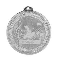 "2"" Silver Music Laserable BriteLazer Medal"