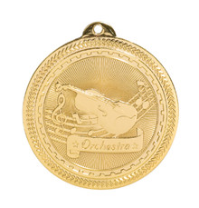 "2"" Gold Orchestra Laserable BriteLazer Medal"
