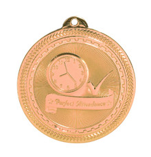 "2"" Bronze Perfect Attendance Laserable BriteLazer Medal"