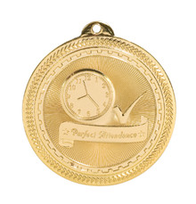 "2"" Gold Perfect Attendance Laserable BriteLazer Medal"
