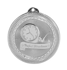 "2"" Silver Perfect Attendance Laserable BriteLazer Medal"