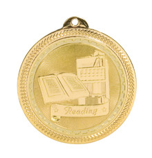 "2"" Gold Reading Laserable BriteLazer Medal"