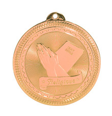 "2"" Bronze Religious Laserable BriteLazer Medal"