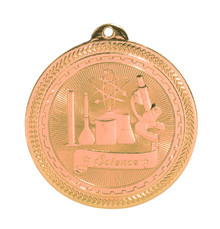 "2"" Bronze Science Laserable BriteLazer Medal"