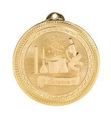 "2"" Gold Science Laserable BriteLazer Medal"