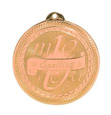 "2"" Bronze Spelling Laserable BriteLazer Medal"