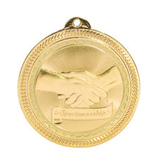 "2"" Gold Sportsmanship Laserable BriteLazer Medal"