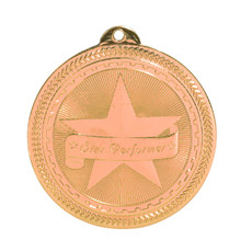 "2"" Bronze Star Performer Laserable BriteLazer Medal"