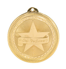 "2"" Gold Star Performer Laserable BriteLazer Medal"