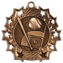 """2 1/4"""" Bronze Baseball/Softball Ten Star Medal"""