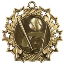 """2 1/4"""" Gold Baseball/Softball Ten Star Medal"""