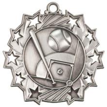 """2 1/4"""" Silver Baseball/Softball Ten Star Medal"""