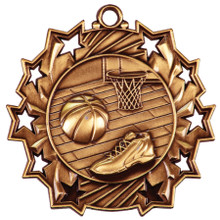 "2 1/4"" Bronze Basketball Ten Star Medal"