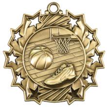 """2 1/4"""" Gold Basketball Ten Star Medal"""