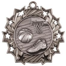"2 1/4"" Silver Basketball Ten Star Medal"