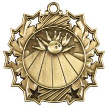 "2 1/4"" Gold Bowling Ten Star Medal"