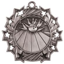 "2 1/4"" Silver Bowling Ten Star Medal"