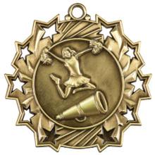 "2 1/4"" Gold Cheer Ten Star Medal"