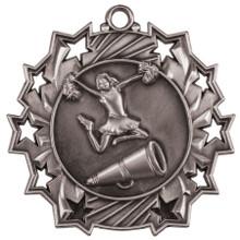 "2 1/4"" Silver Cheer Ten Star Medal"