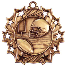 "2 1/4"" Bronze Football Ten Star Medal"