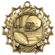 "2 1/4"" Gold Football Ten Star Medal"