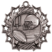 """2 1/4"""" Silver Football Ten Star Medal"""