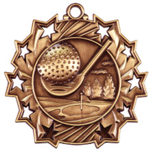 "2 1/4"" Bronze Golf Ten Star Medal"