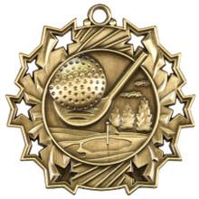 """2 1/4"""" Gold Golf Ten Star Medal"""
